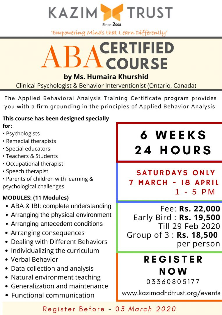 ABA Certified Course in Psychologist